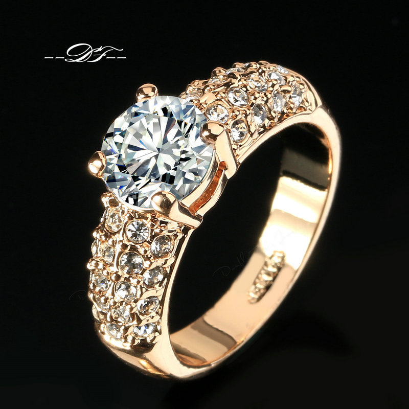 Engagement Wedding Finger Rings CZ Diamond 18K Rose Gold Plated Fashion Brand Rhinestone Jewelry For Women anel Wholesale DFR105(China (Mainland))