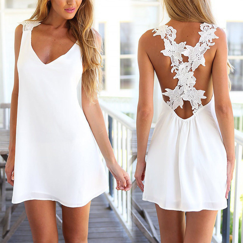 2015 Best Sale New Fashion White Chiffon Dress V-Neck Backless Ladies Sleeveless Embroidery Women - Legendary Sexy store
