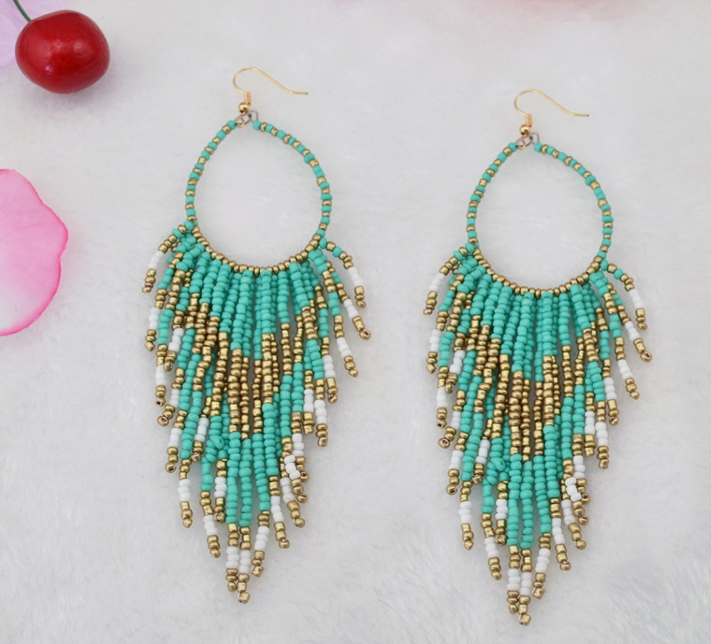 Vintage boho gold plated bohemian beads long big statement earrings fashion jewelry - Fascinating Jewelry store
