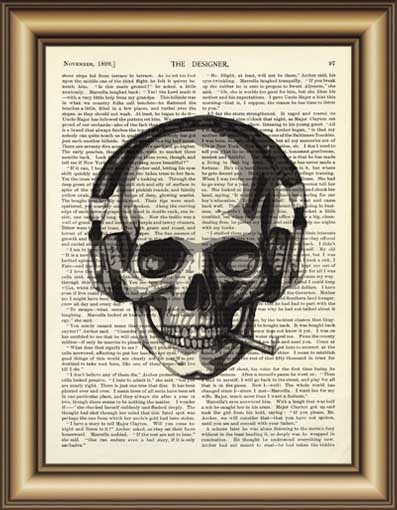 Skull Earphone Dictionary Canvas painting wall Art Poster Print Pictures Home Decoration Vintage Book Page Print wall decor gift(China (Mainland))