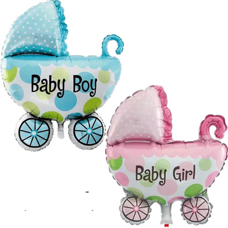 Baby Stroller Foil Balloons Baby Shower Baby Carriage Boy & Girl Balloon Inflatable Toys Children Birthday Party Decorations(China (Mainland))