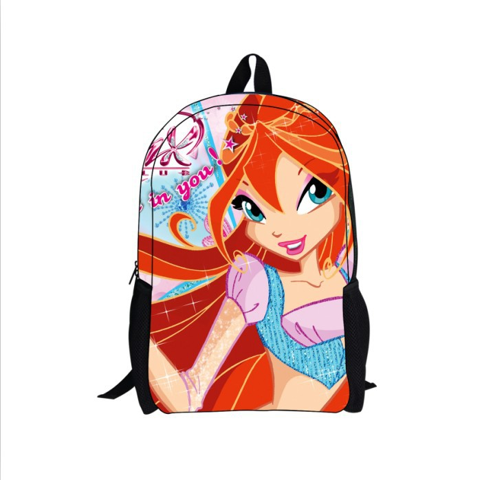 Free shipping New cartoon 3D pink Children's Winx Club Backpack Satchel Lovely Bookbag for girls/kids wholesale and retail(China (Mainland))