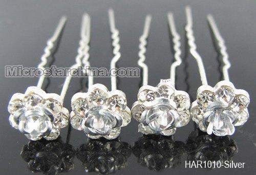 Fashion Jewelry 20pcs/lot Hot Sale Crystal Rhinestone Wedding Silver Rose Flower Hair Pins Girl's Accessories Length: 7.0cm(China (Mainland))