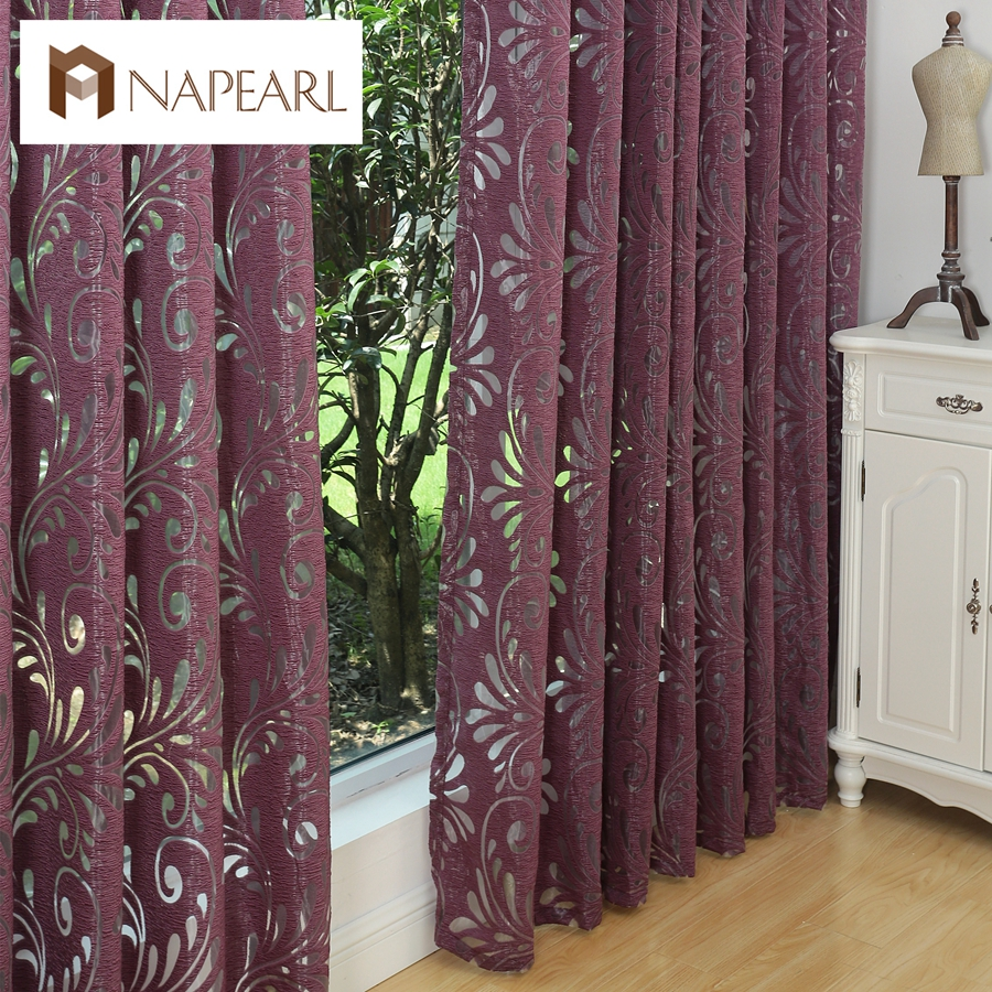 Flat panel curtains - Multiple Colors Ready Made Semi Blackout Curtains Blind Panel Fabrics For Window Purple Curtains