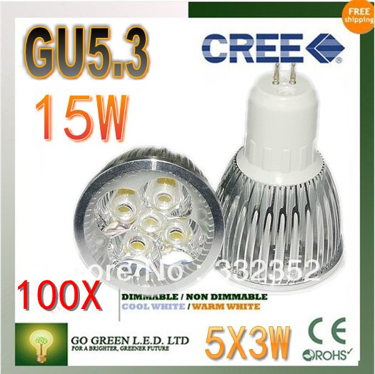 Free shipping 100XHigh-power CREE led bulb GU5.3 12W 15W AC85-265V Dimmable Warm/Pure/Cool white led Spotlight led lamp led