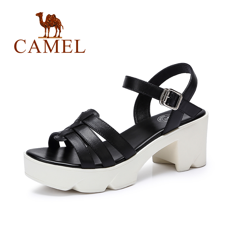 Camel casual sandals 2016 fashion women leather sandals high-heeled sandals 2016 new summer sandals t(China (Mainland))