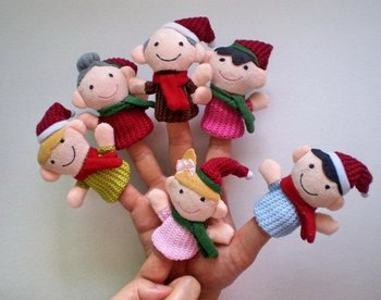 Christmas happy family  Plush Finger Puppet Toy Baby Mini Finger Doll cartoon Doll stuffed plush finger toys Wholesale