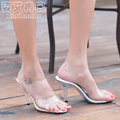 Summer Transparent Crystal Shoes Woman 7 CM 10 CM Shallow Party High Heels Big Size Women
