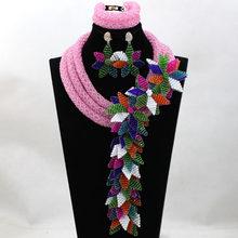 Kecantikan Ungu Kristal Perhiasan Bunga Bros Set African Wedding Bridal/Wanita Beads Kalung Perhiasan Set Gratis Pengiriman ANJ288(China)