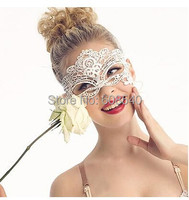 1PC White Sexy Lady Lace Mask Cutout Eye Mask for Masquerade Party Fancy Dress Costume AE01243