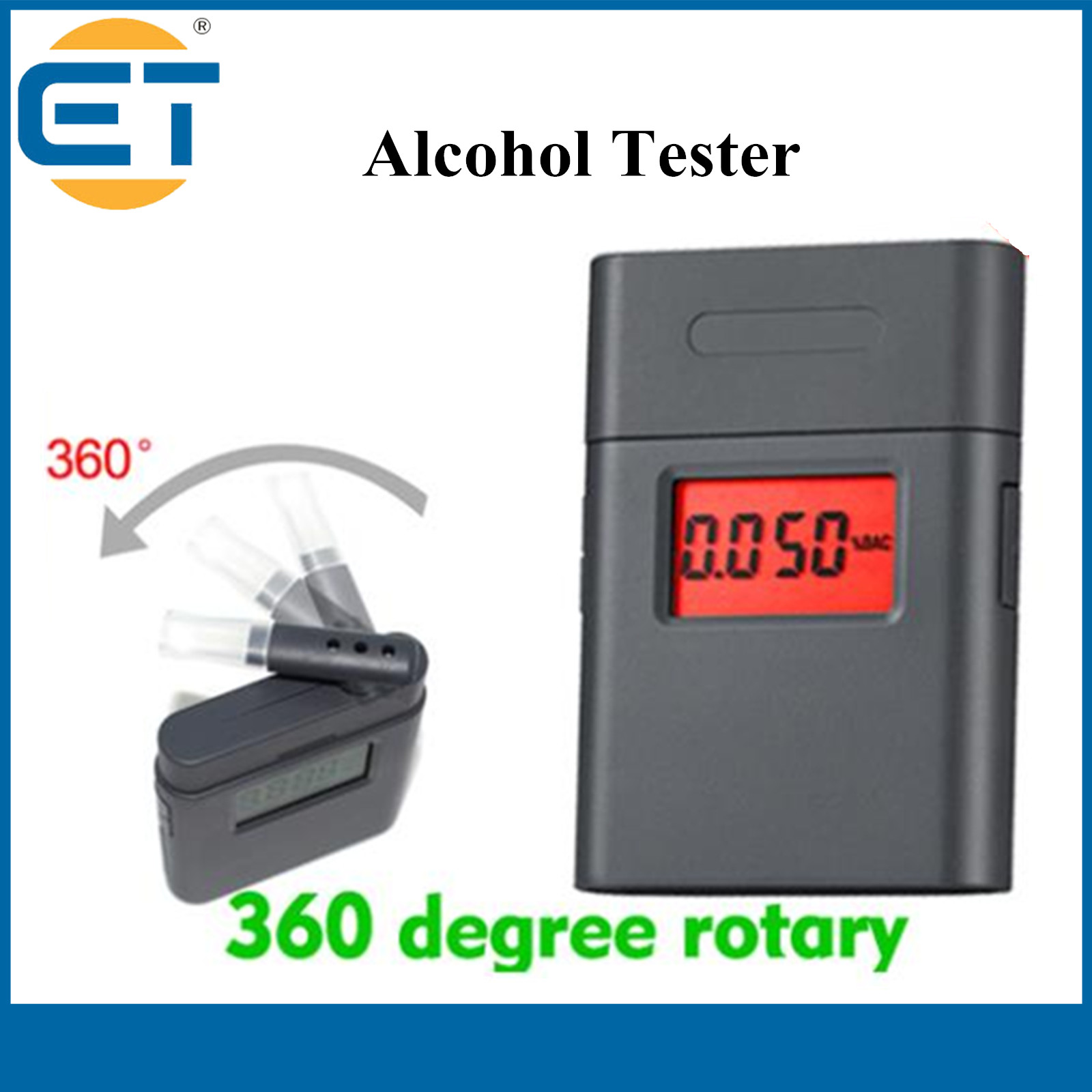 Patent Alkohol tester Police Digital Breath Alcohol Tester with 360 degree rotating device for drive safely(Hong Kong)