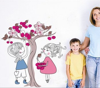 Free shipping,Pick the fruit with friend wall Stickers, Decorative DIY paper sticker,high quality for children