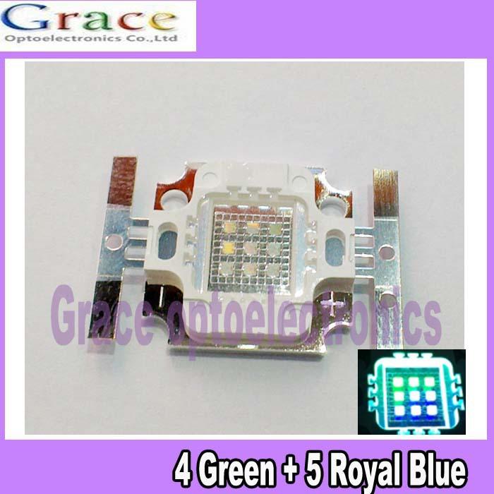 2pcs 10W Cyan 490nm Square 4 Green +5 Royal Blue High Power LED Light Bulb(China (Mainland))