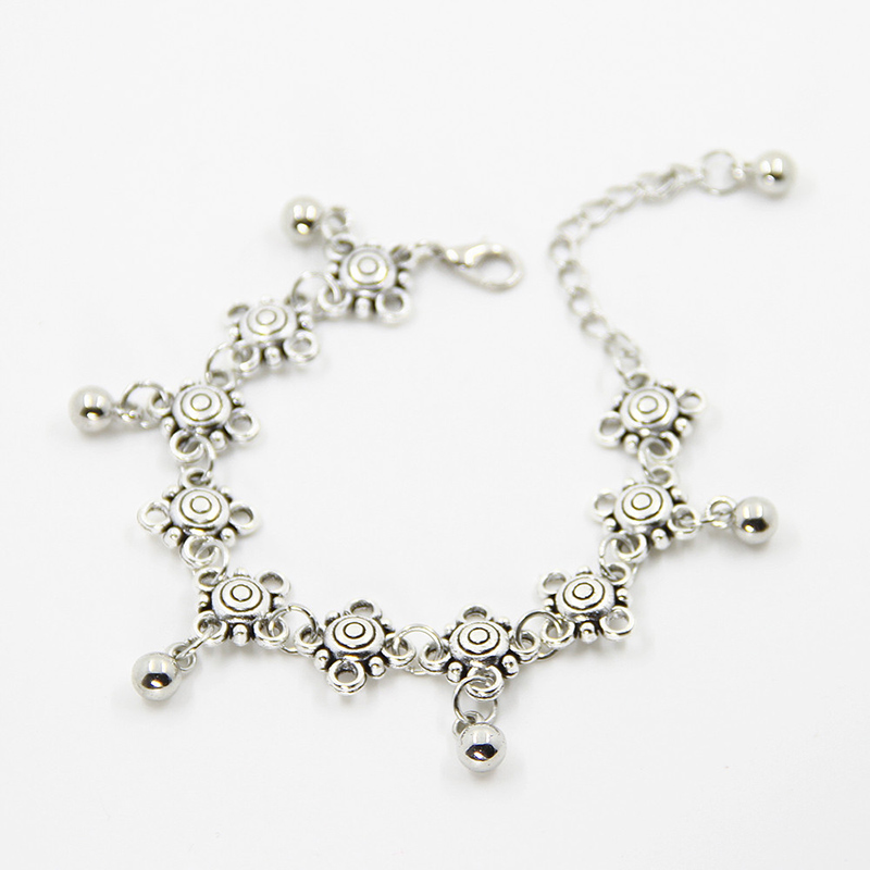 New Charm Anklets for Women Fine Jewelry Wholesale Vintage Foot Jewelry Ancient Silver Plated Flower Ankle Chain Bracelet BW584(China (Mainland))