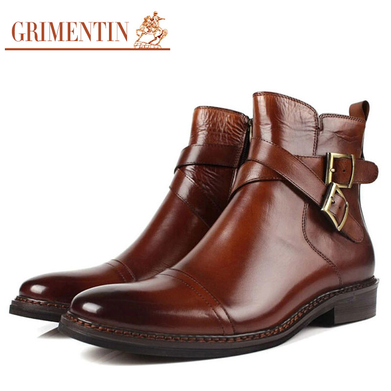 2016 autumn UK unique fashion mens ankle boots genuine leather double buckle black brown men shoes for party casual business 230(China (Mainland))