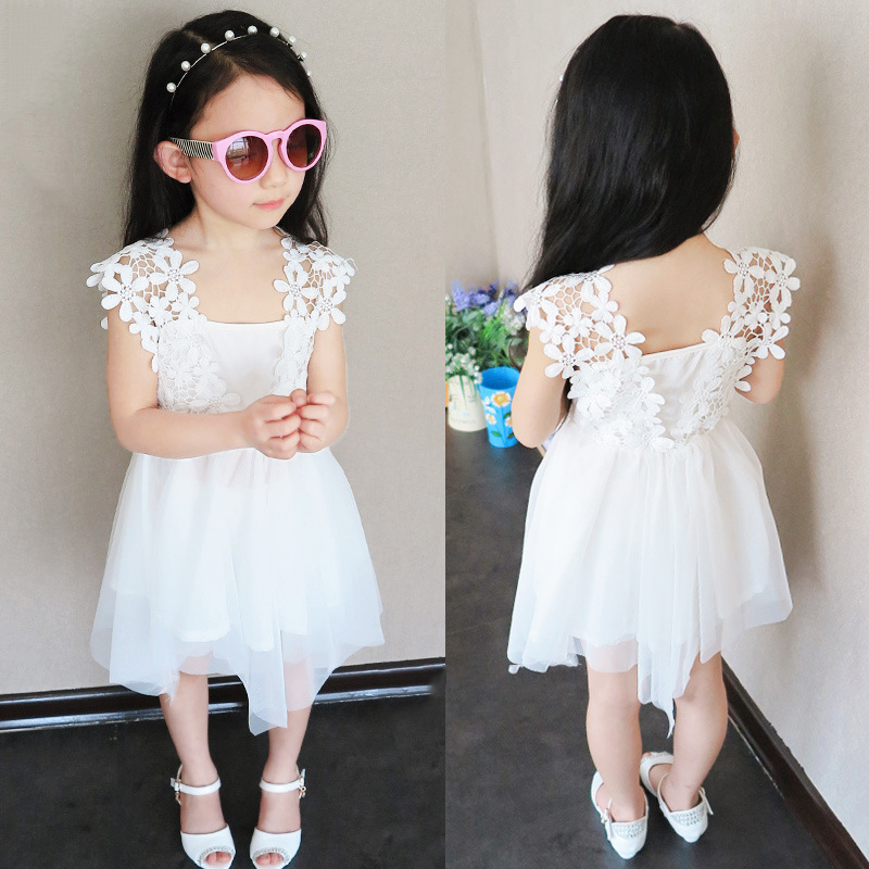 2015 Summer girls dress new Korean white net yarn crochet lace vest soft princess clothing 2-7T - Lucky Baby Shop store