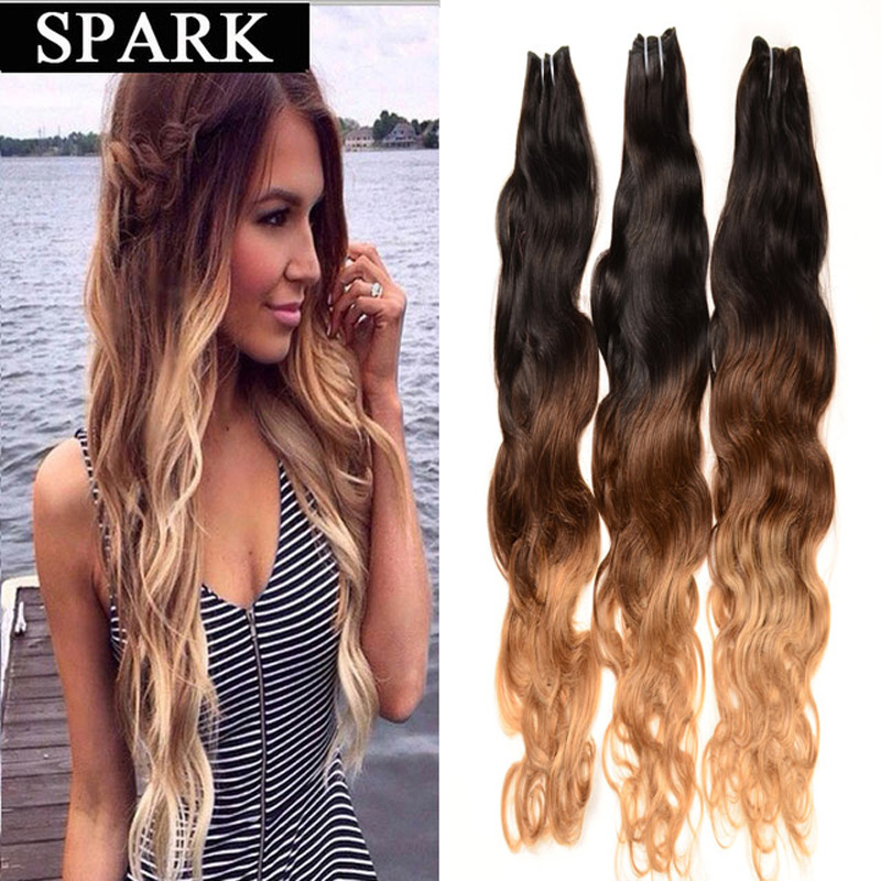 One Piece 7A Ombre Brazilian Virgin Hair Natural Wave Cheap Soft Wet Thick Human Hair Ocean Wave Women Wigs Spark Mocha Hair(China (Mainland))