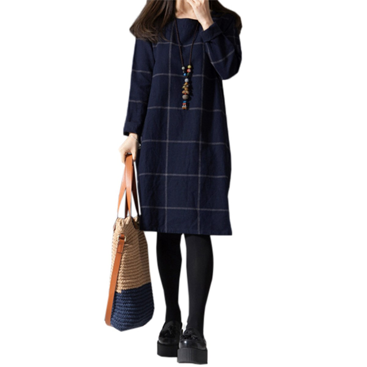 2016 Spring New Large Size Women Loose Clothing Arts Style Casual Dresses Korean Long Sleeved