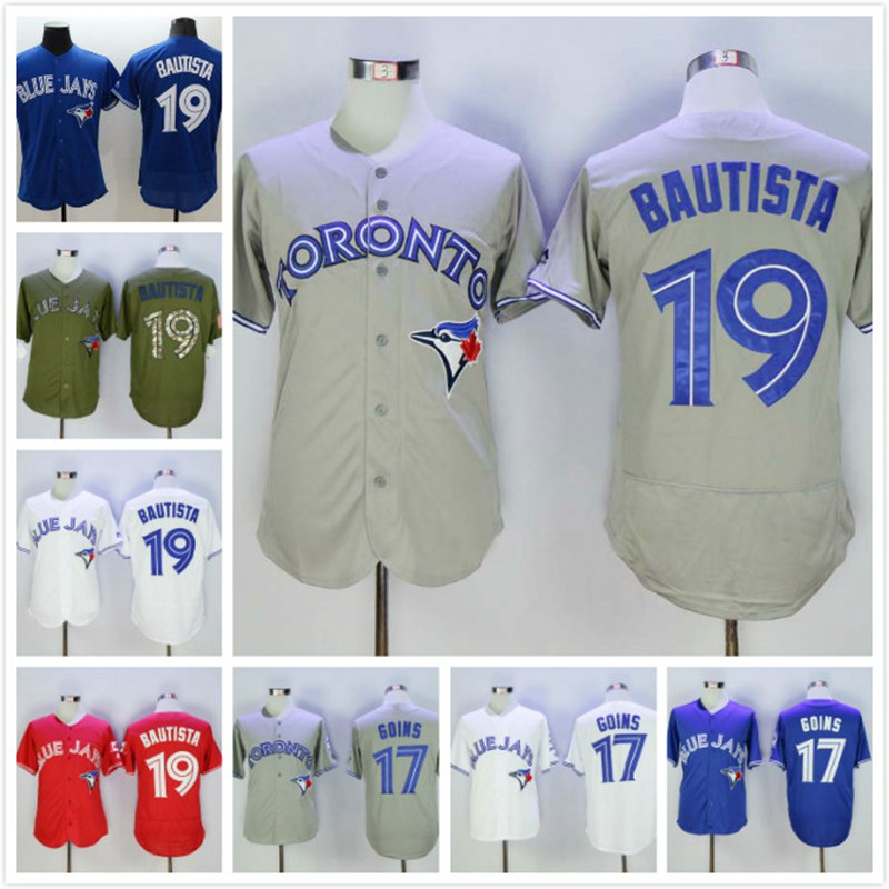 Mens 19 Jose Bautista Jersey White Blue Grey Red Green Stitched(China (Mainland))