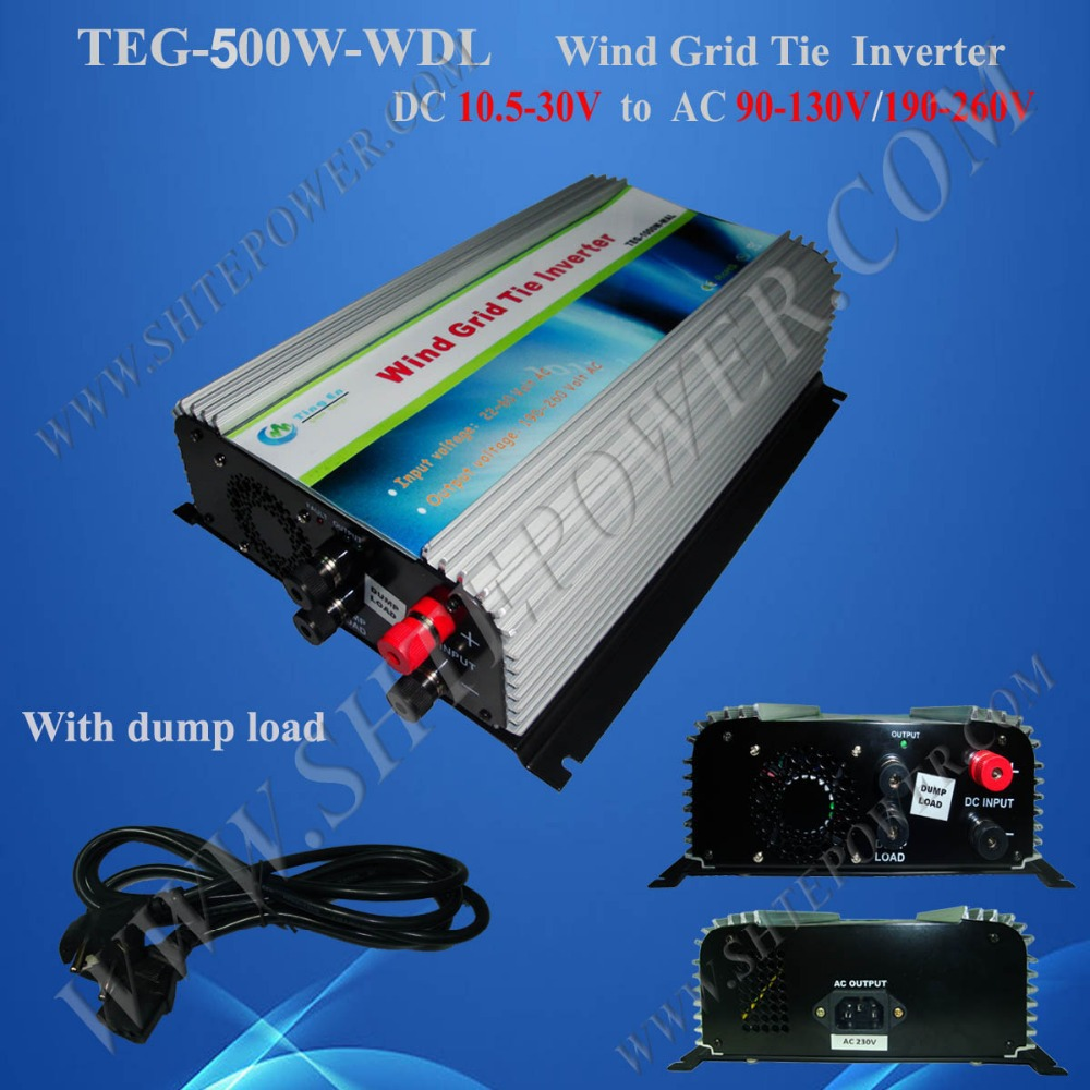 DC 10.5-30v 500w grid tie inverter for wind turbine 300-400w with Dump load(China (Mainland))