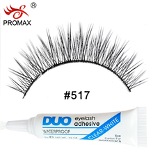PROMAX 517 False Eyelashes 3 Pairs Handmade Fake Lashes Soft Natural Long Eye Lashes Extension With 1 PCS DUO Eyelash Glue(China (Mainland))