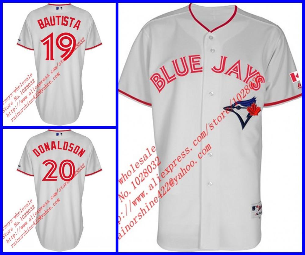 Wholesale Toronto Blue Jays #19 Jose Bautista #20 Josh Donaldson 2015 Canada Day Home Jersey Embroidery Logo,S~5XL,A+++ Quality(China (Mainland))