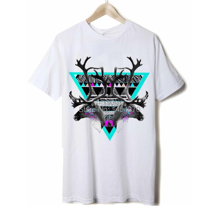 Fashion Punk Cool 3D Deer Brand Shirt tshirt High Quality items fitness 100%Cotton hip hop skateboard sport diamond(China (Mainland))