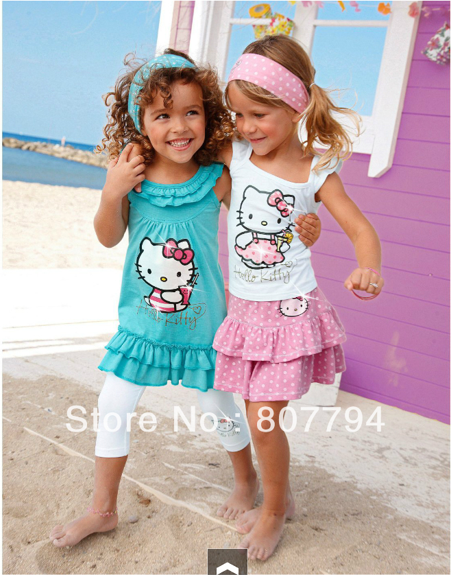 Free Shipping 2013 new Brand Summer Hello Kitty Baby Girl Suits Kids Sets headband+Dress+Pants Children Clothing 5sets/lot(China (Mainland))