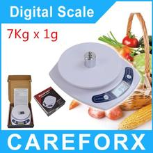 Free shipping 7kg 7000g x1g Portable Digital LCD Kitchen Food Diet Postal Weighting Scale Compact Electronic