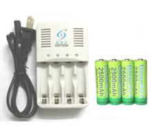 4 Pcs NiZn 1.6V 2500mAh AA Rechargeable Battery + 4 ports NiZn NiMH AA AAA battery Charger , High Voltage For High Drain Usage