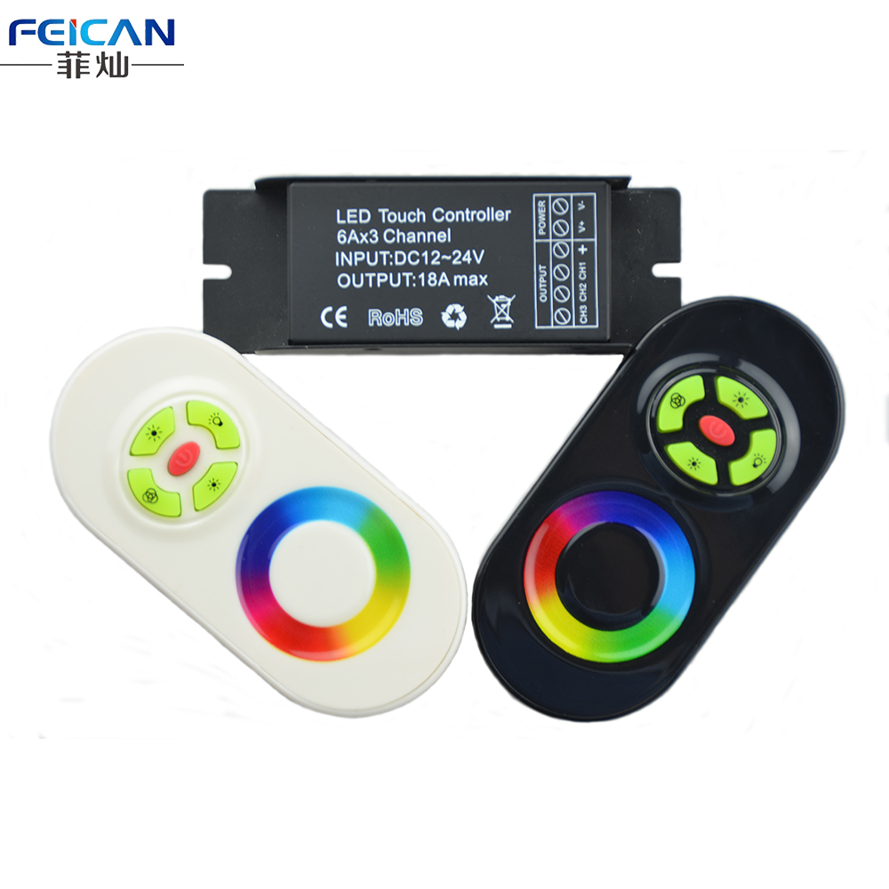 Iron Shell Long Section DC12-24V 6A/CH 18A RGB LED Controller Black/White RF 5Key Touch Remote Controller For RGB LED Strip(China (Mainland))