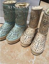 Remaches de diamantes de imitación de piel de una sola pieza de mezcla de primera capa de piel de vaca plataforma impermeable botas de nieve de algodón acolchado zapatos(China (Mainland))