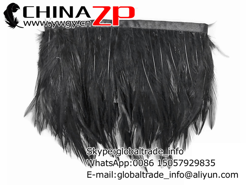 Wholesale and Retail per Yard from Factory www.ywgy.cn Cheap Beautiful Dyed Black Rooster Neck Hackle Feathers Trim(China (Mainland))