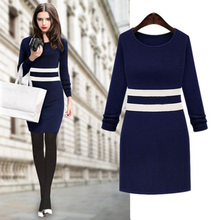 Casual O-Neck Women Bodycon Sweater Western Pullover Winter Autumn Thickening Knitted Sweater Long Sleeve Wool Dress Pullover 33(China (Mainland))