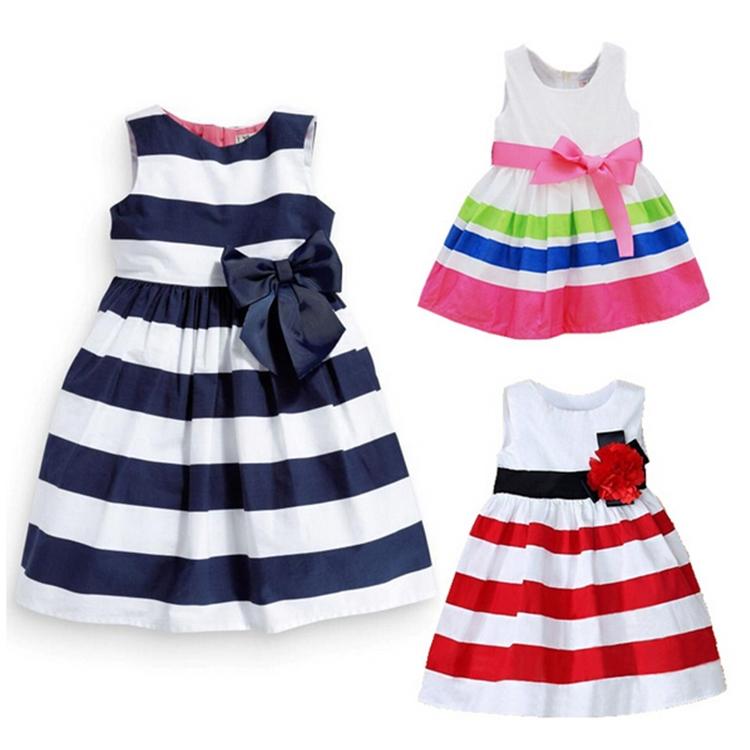 Retail Baby Summer Kid Girls Sleeveless One Piece Dress Blue Striped Bowknot Tutu Dresses Royalblue Asian/Tag Size 90-120(China (Mainland))