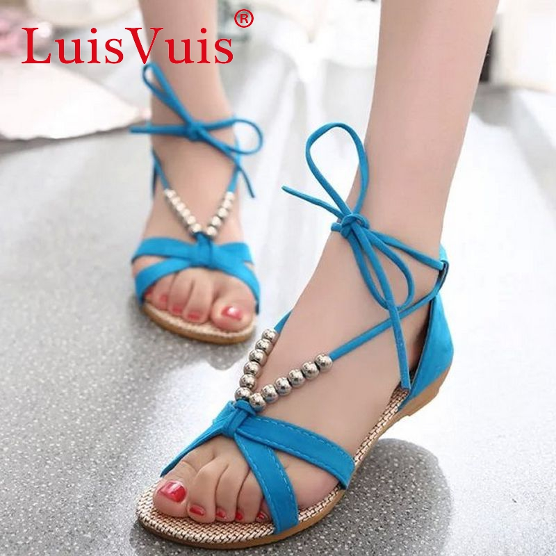 women flat sandals beading laces shoes slippers gladiator sandals summer style footwear woman sandals size 35-39 WD0032(China (Mainland))