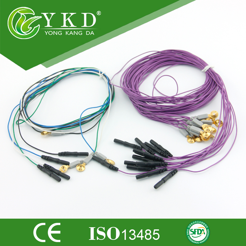 Molded Din 1.5 EEG cable with gold plated cup electrodes from Chinese manufacturers(China (Mainland))