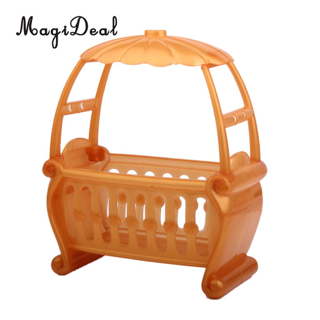 1Pc Lovely Dollhouse Miniature Furniture Detachable Canopy Baby Cot for Dolls Bedroom Decor Children Kids Pretend Play Toy