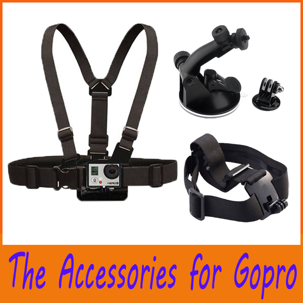 New Go pro Accessories Adjustable Chest Belt Strap Mount Head Strap Helmet Car Auto Suction Cup set For GoPro HD Camera 1 2 3 3+(China (Mainland))
