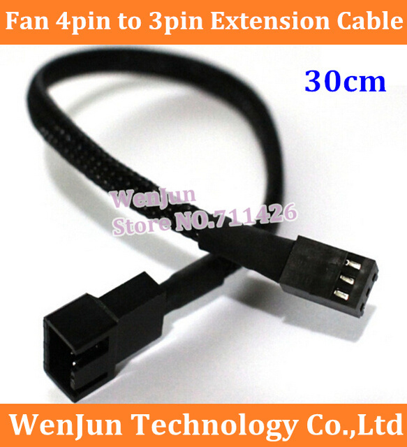 Free Shipping  Fan 4pin to 3pin power cable 50PCS/LOT  4p to 3p fan extension cable  30cm