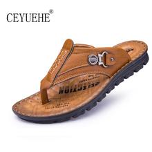Fashion Men Leather Flip Flops Sandals Rubber Outdoor Summer Sapatos Flat Street Casual Licht Schoenen Lazy Slippers Beach Shoes