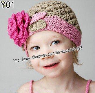30pcs knitted hat baby cap handmade cap/crochet baby hat children cotton hat Stripes Beanie