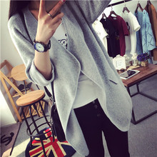 High Quality Long Cashmere Knitted Cardigan Women Casual Loose Lrregular Large Lapel Sweater Coat Female 2015 Autumn Winter G129(China (Mainland))