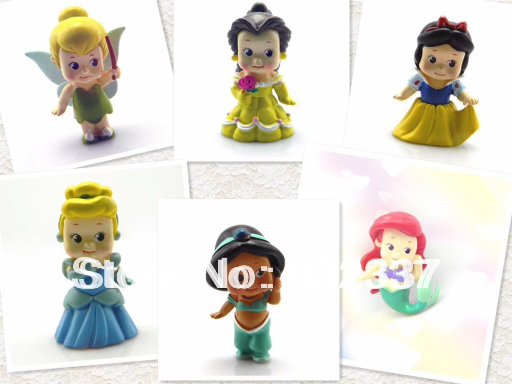 Pop PVC Toys Cute shiny Princess Ariel Cinderella Snow white font b Figures b font 6pcs