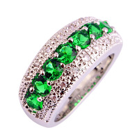 Generous Fashion Lady Round Cut Emerald Quartz 925 Silver Ring Jewelry For Women Size 6 7 8 9 10 11 12 Free Shipping Wholesale