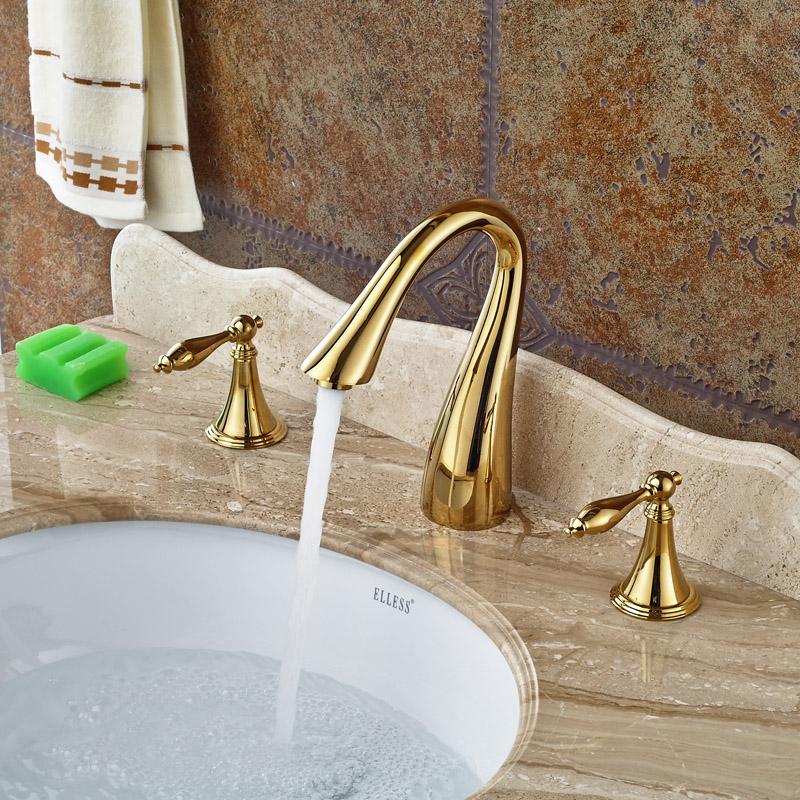Фотография Deck Mount Dual Handles Golden Bathroom Basin Mixer Faucet Widespread 3 Holes