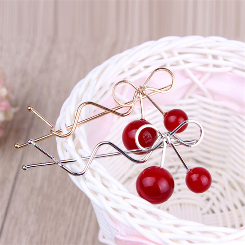 1 pc FASHION Korean Red Cherry Shaped Bowknot Hairpin Twist Hair Clip Hairpin Barrette Hair Accessories for Women Lady Girls(China (Mainland))