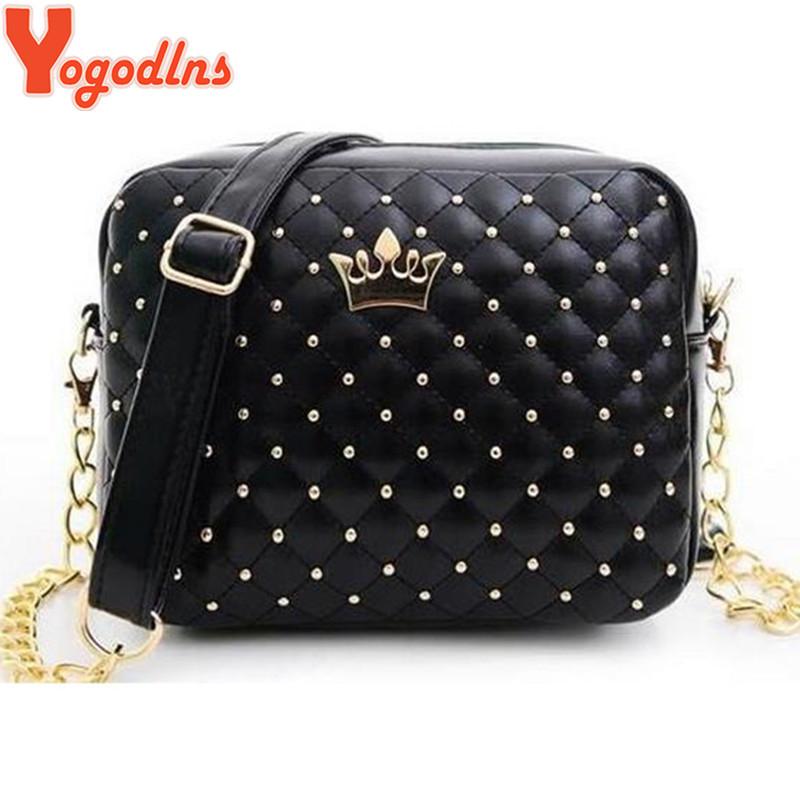 2016 Women Bag Fashion Women Messenger Bags Rivet Chain Shoulder Bag High Quality PU Leather Crossbody Quiled Crown bags(China (Mainland))