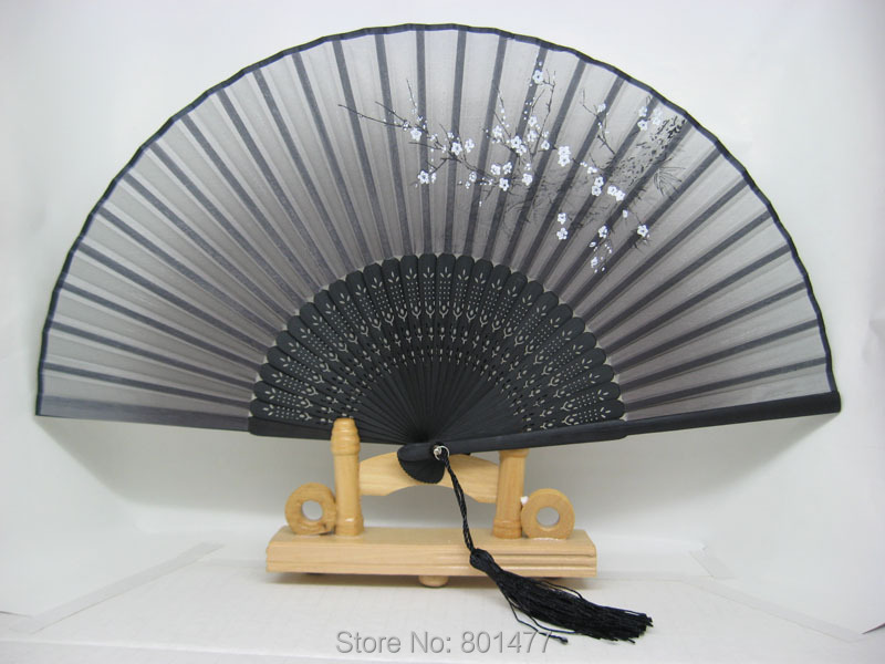Plum Flower Hand Held Silk Bamboo Folding Fan With Tassel Wedding Favor HSF60a,free shipping(China (Mainland))