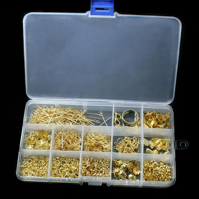 DIY Jewelry Findings Set Gold Plated Accessories Beads cap/jump rings/clasps/pins for jewelry making BDH010-19(China (Mainland))
